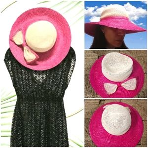 Straw Pink/Natural Bow Sun Hat